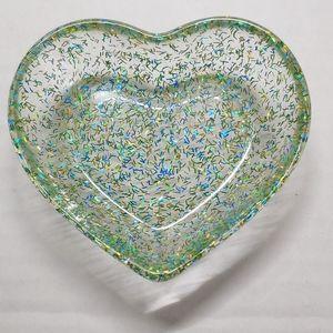 Trinket Dish Heart Green, Blue & Gold Glitter